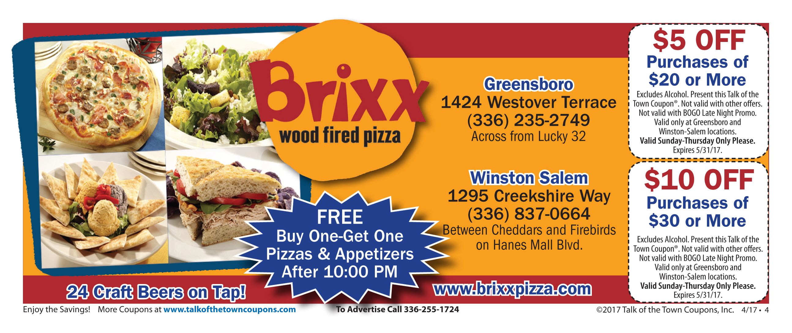 Brixx Wood Fired Pizza Booklet Offer Image