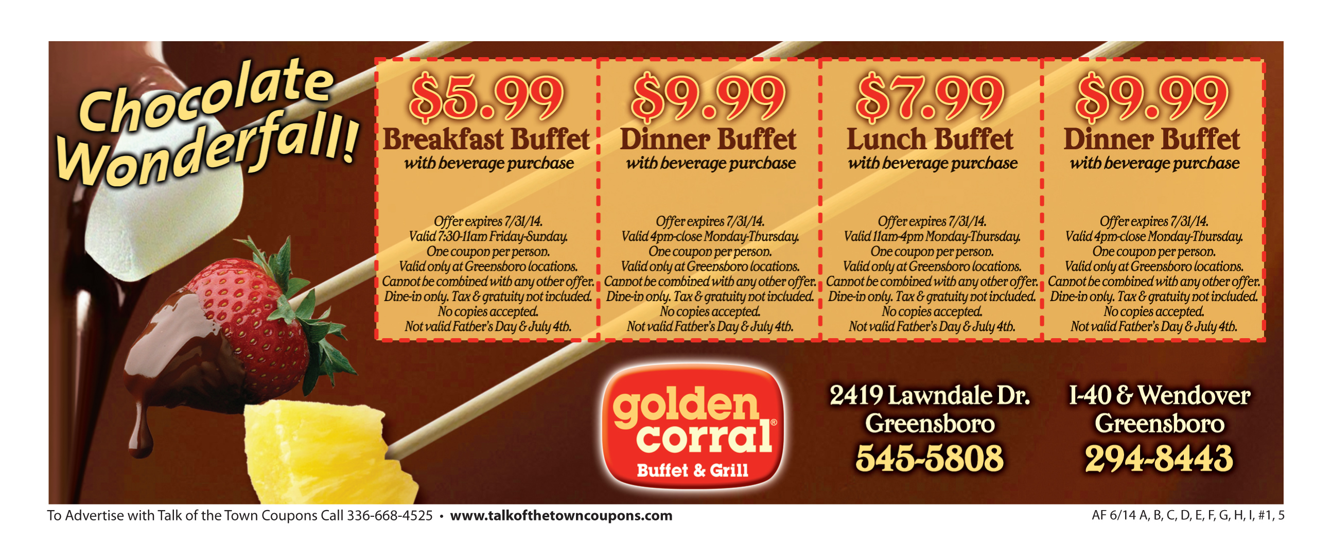 Golden Corral Booklet Offer Image